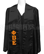 Phi Beta Epsilon Ladies Satin Graduation Stole with Greek Letters, Black