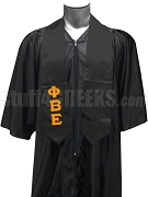 Phi Beta Epsilon Men's Satin Graduation Stole with Greek Letters, Black