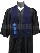 Phi Beta Epsilon Satin Graduation Stole with Greek Letters,  Navy Blue