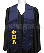 Phi Beta Lambda Ladies Satin Graduation Stole with Greek Letters, Navy Blue