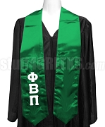 Phi Beta Pi Ladies Satin Graduation Stole with Greek Letters, Kelly Green