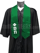Phi Beta Pi Men's Satin Graduation Stole with Greek Letters, Kelly Green
