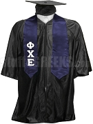 Phi Chi Epsilon Satin Graduation Stole with Greek Letters, Navy Blue