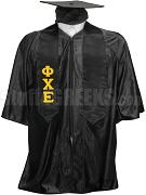 Phi Chi Epsilon Satin Graduation Stole with Greek Letters, Black