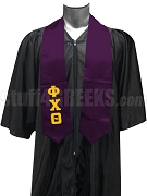 Phi Chi Theta Men's Satin Graduation Stole with Greek Letters, Purple