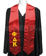 Phi Delta Kappa Satin Graduation Stole with Greek Letters, Red