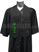 Phi Delta Sigma Satin Graduation Stole with Greek Letters, Black