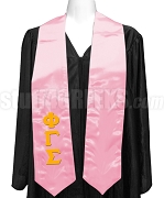 Phi Gamma Sigma Satin Ladies Graduation Stole with Greek Letters, Pink