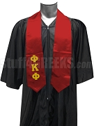 Phi Kappa Phi Men's Satin Graduation Stole with Greek Letters, Red
