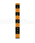 Phi Mu Alpha Greek Letter Kente Graduation Stole with Music Notes, Black
