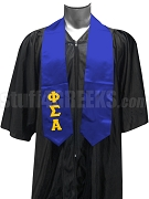 Phi Sigma Alpha Satin Graduation Stole with Greek Letters, Royal Blue