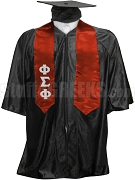 Phi Sigma Phi Satin Graduation Stole with Greek Letters, Cardinal Red