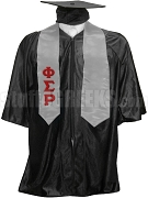 Phi Sigma Rho Satin Graduation Stole with Greek Letters, Silver