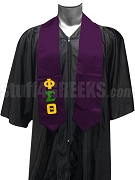 Phi Sigma Theta Satin Men's Graduation Stole with Greek Letters, Purple