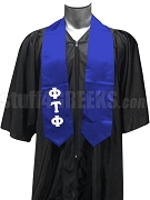 Phi Tau Phi Satin Men's Graduation Stole with Greek Letters, Royal Blue
