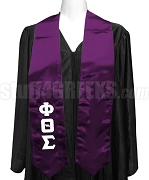 Phi Theta Sigma Satin Ladies Graduation Stole with Greek Letters, Purple