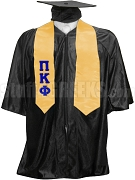 Pi Kappa Phi Satin Graduation Stole with Greek Letters, Gold