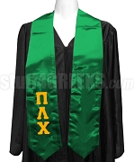 Pi Lambda Chi Satin Ladies Graduation Stole with Greek Letters, Kelly Green
