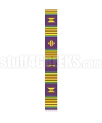 Plain Kente Graduation Stole, Purple/Red/Green/Gold