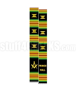 Prince Hall Mason Kente Graduation Stole with Square & Compass, Black/Red/Green/Gold
