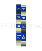 Prince Hall Mason Kente Graduation Stole with Square & Compass, Blue/Gold