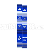 Prince Hall Mason Kente Graduation Stole with Square & Compass, Blue/Whtie