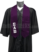 Sigma Alpha Beta Men's Satin Graduation Stole with Greek Letters, Purple