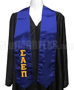 Sigma Alpha Epsilon Pi Satin Ladies Graduation Stole with Greek Letters, Royal Blue