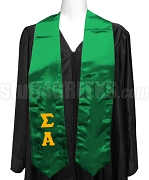 Sigma Alpha Satin Ladies Graduation Stole with Greek Letters, Kelly Green