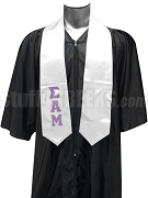 Sigma Alpha Mu Satin Graduation Stole with Greek Letters, White