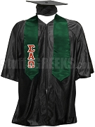 Sigma Alpha Omega Satin Graduation Stole with Greek Letters, Forest Green