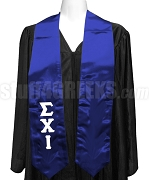 Sigma Chi Iota Satin Graduation Stole with Greek Letters, Royal Blue