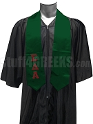 Sigma Delta Alpha Satin Graduation Stole with Greek Letters, Forest Green