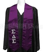 Sigma Delta Sigma Satin Graduation Stole with Greek Letters, Purple