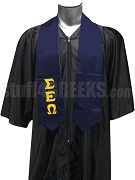 Sigma Epsilon Omega Satin Graduation Stole with Greek Letters, Navy Blue