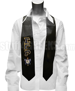 Sigma Gamma Rho Satin Graduation Stole with Greek Letters and Crest, Black