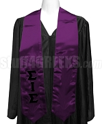 Sigma Iota Sigma Satin Graduation Stole with Greek Letters, Purple