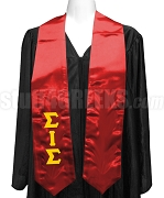 Sigma Iota Sigma Multicultural Sorority Satin Graduation Stole with Greek Letters, Red