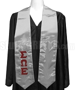 Sigma Omega Epsilon Satin Graduation Stole with Greek Letters, Silver