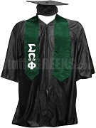 Sigma Omega Phi Satin Graduation Stole with Greek Letters, Forest Green