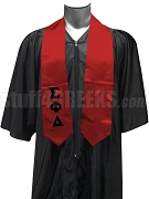 Sigma Phi Delta Satin Graduation Stole with Greek Letters, Red