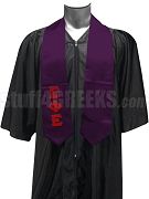 Sigma Phi Epsilon Satin Graduation Stole with Greek Letters, Purple