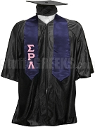 Sigma Rho Lambda Satin Graduation Stole with Greek Letters, Navy Blue