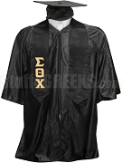 Sigma Theta Chi Satin Graduation Stole with Greek Letters, Black
