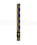 Silk Kente Clergy Stole with Cross, Blue/Gold
