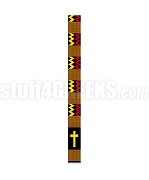Silk Kente Clergy Stole with Cross, Red /Gold