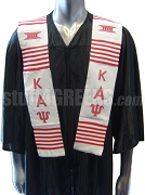 Kappa Alpha Psi White Graduation Stole with Red Letters