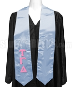 Tau Gamma Delta Satin Ladies Graduation Stole with Greek Letters, Light Blue