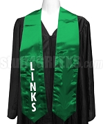 The Links Satin Graduation Stole with Organization Name, Kelly Green