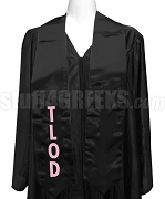 Top Ladies Of Distinction Satin Graduation Stole with Organization Letters, Black